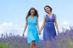 Two women on lavender field Royalty Free Stock Photography
