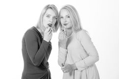 Two women with lipsticks Stock Photos