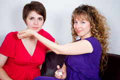 Two women in living room Royalty Free Stock Photos