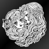 Two women with long hair. Friends, sisters, couple vector illustration