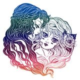Two women with long hair. Friends, sisters, couple. Two women characters with long hair hand drawn in retro style. Can be sisters, Gemini zodiac sigh, best royalty free illustration