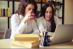 Two women looking at laptop together Royalty Free Stock Image