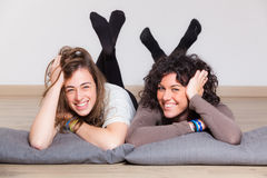 Two Women Lying Down Royalty Free Stock Image