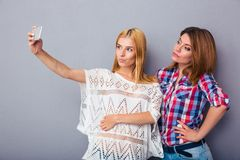 Two women making selfie photo Stock Photo