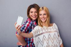 Two women making selfie photo Royalty Free Stock Images