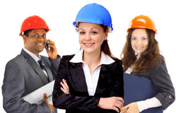 Two women and a man architect team Royalty Free Stock Photography
