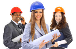 Two women and a man architect team Royalty Free Stock Photo