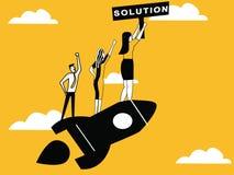 People on rocket providing Solution stock illustration