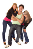 Two women and man posing Stock Photo