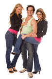Two women and man on white Royalty Free Stock Images
