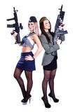 Two women in the marine and the military uniforms with the assau Royalty Free Stock Image