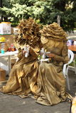 Two women in mascarade gold floral dress Royalty Free Stock Photo