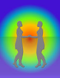 Two Women Meeting. Two women in grey silhouette, over rainbow background. Hand drawn illustration,no models used Royalty Free Stock Photo