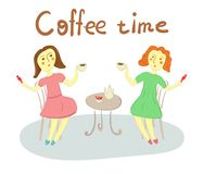 Two women met in a cafe to have a cup of coffee. Two women in red and green dresses met in a cafe to have a cup of coffee or cup of tea Royalty Free Stock Images