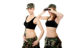 Two women in military clothes, army girls Royalty Free Stock Photography