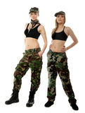 Two women in military clothes, army girls Royalty Free Stock Photos