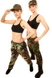 Two women in military clothes army girls isolated Stock Images