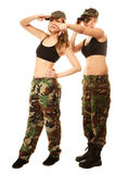 Two women in military clothes with binoculars army girls Stock Photography