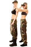 Two women in military clothes with binoculars army girls Royalty Free Stock Photography