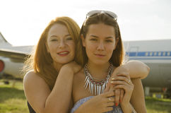 Two women mother and daughter met at the airport after trip Stock Photo