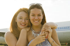 Two women mother and daughter met at the airport after trip Stock Image