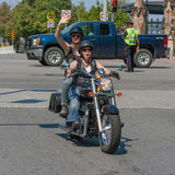 Two Women on Motorcycle in Pride Parade Royalty Free Stock Images