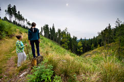 Two women on the mountain Stock Image