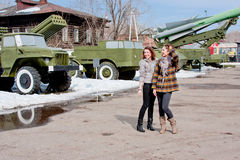 Two  women at the Museum of Military Equipment Stock Photography