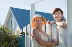 Two   women near fence wicket Stock Image