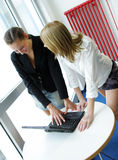 Two women in office. Two women working on laptop computer in office Royalty Free Stock Photography