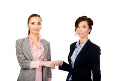Two women in office outfits giving handshake. Royalty Free Stock Images