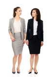 Two women in office outfits looking at each other. Stock Photos