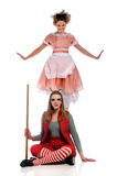Two Women Performing Theatrical Act Royalty Free Stock Photos