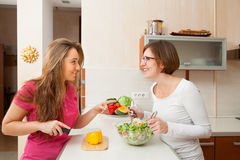 Two women perparing lunch Stock Photos
