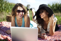 Two women in the picnic Stock Photography
