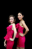 Two women in pink dresses on black Royalty Free Stock Image