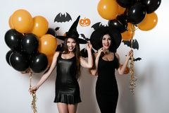 Two women posing in black sexy dresses and witch hats, on a white background and with balloons in hands Stock Photography