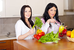 Two women prepare the dinner. Two beauty women prepare the dinner with fresh vegetables in kitchen Stock Images