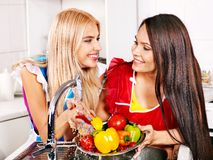 Two women preparing food at kitchen. Royalty Free Stock Photography