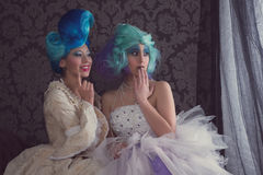 Two women in prom dresses Royalty Free Stock Photos