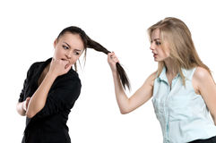 Two women quarrel Stock Photo