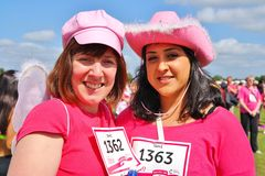 Two women at Race For Life charity event Royalty Free Stock Photos