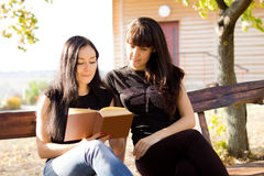 Two women reading together royalty free stock images