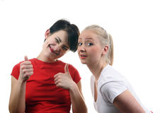 Two women in red and white. Royalty Free Stock Images