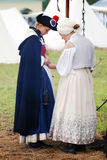 Two women reenactors at Borodino battle historical reenactment in Russia Stock Photography