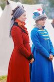 Two women reenactors at Borodino battle historical reenactment in Russia Stock Photo