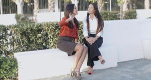 Two women relaxing and having a chat. Two attractive smart young women relaxing and having a chat in an urban square  panoramic view with copyspace stock footage