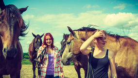 Two women relaxing with horses on meadow Stock Photo
