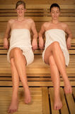 Two women relaxing in sauna Stock Photography