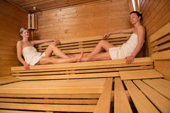 Two women relaxing in sauna Stock Photo